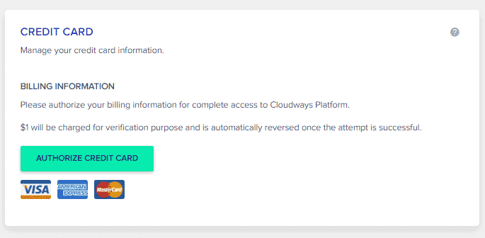 authorize payment option in cloudways