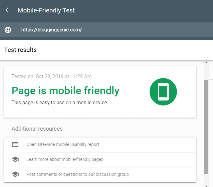 Mobile friendly test on-page seo