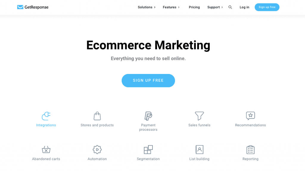 Getresponse Ecommerce solution sales funnel software