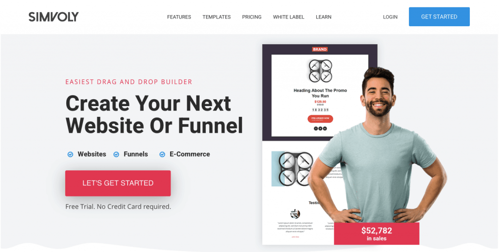 Simvoly sales funnel software