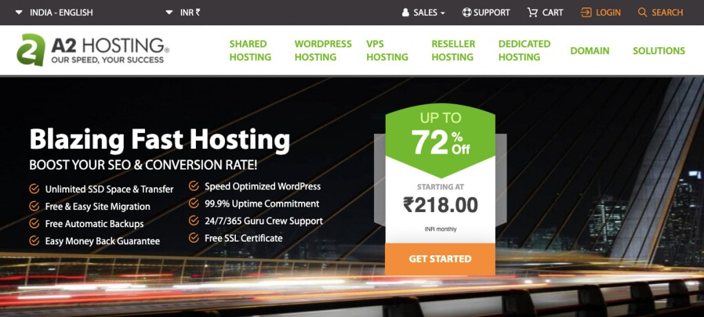 A2 Hosting India Best Hosting in India
