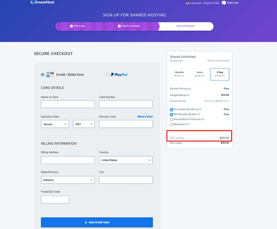 DreamHost payment checkout dreamhost coupon