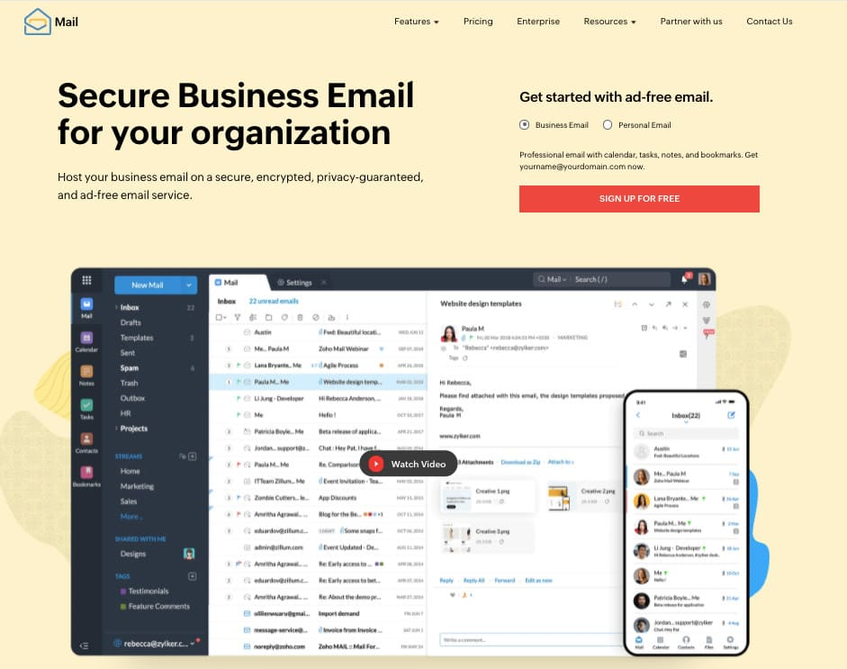 Zoho Mail email management tool